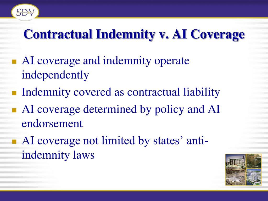 Contractual Indemnity v. AI Coverage