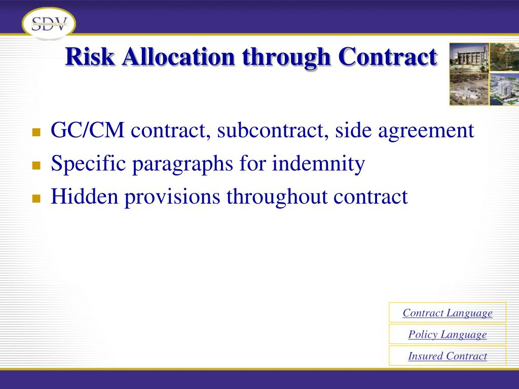 Risk Allocation through Contract