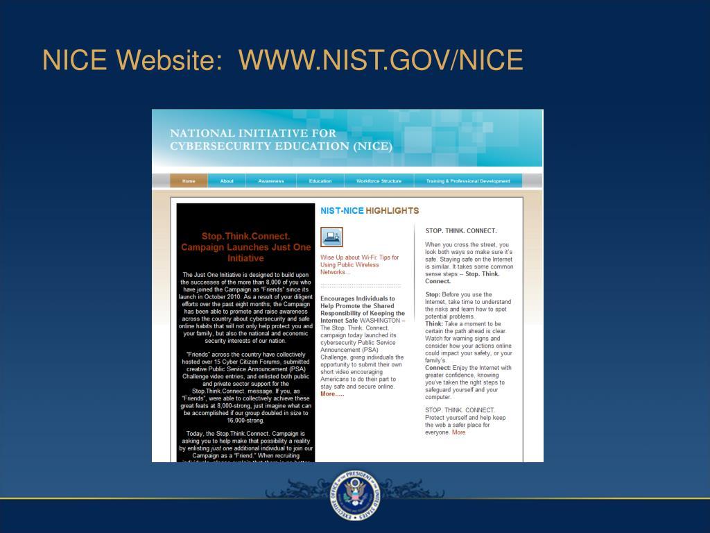 NICE Website:  WWW.NIST.GOV/NICE