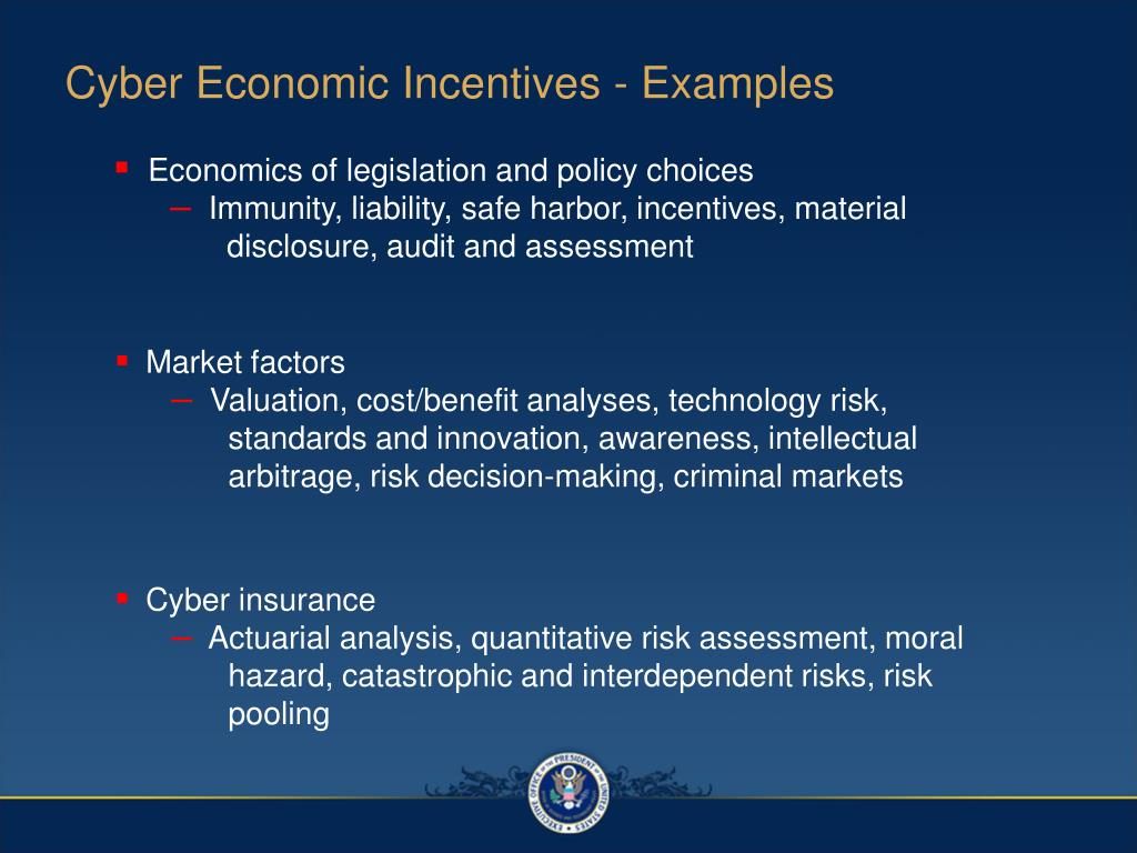 Cyber Economic Incentives - Examples
