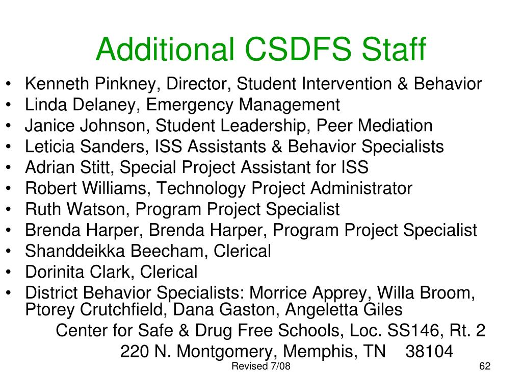 Additional CSDFS Staff