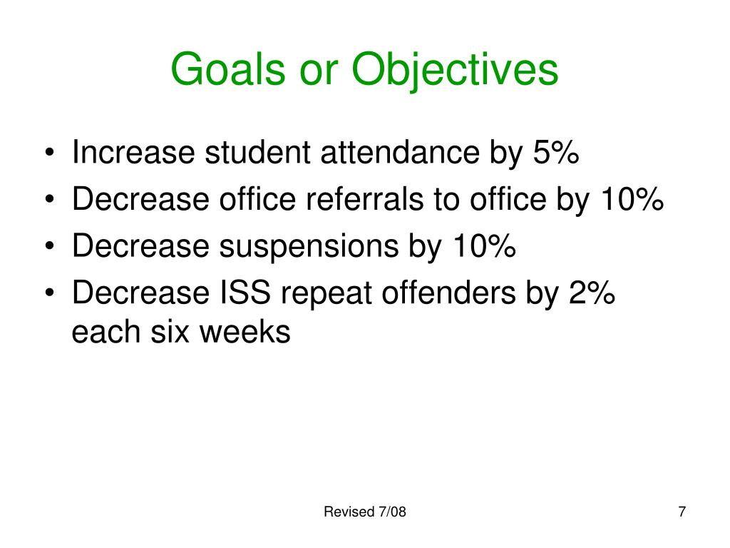 Goals or Objectives