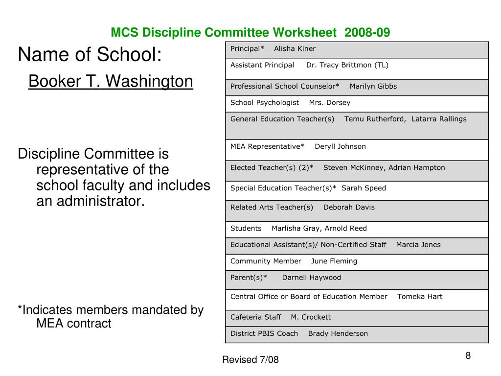 MCS Discipline Committee Worksheet