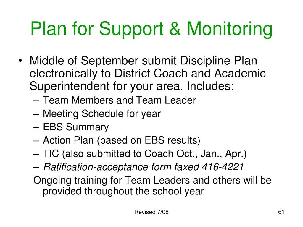 Plan for Support & Monitoring