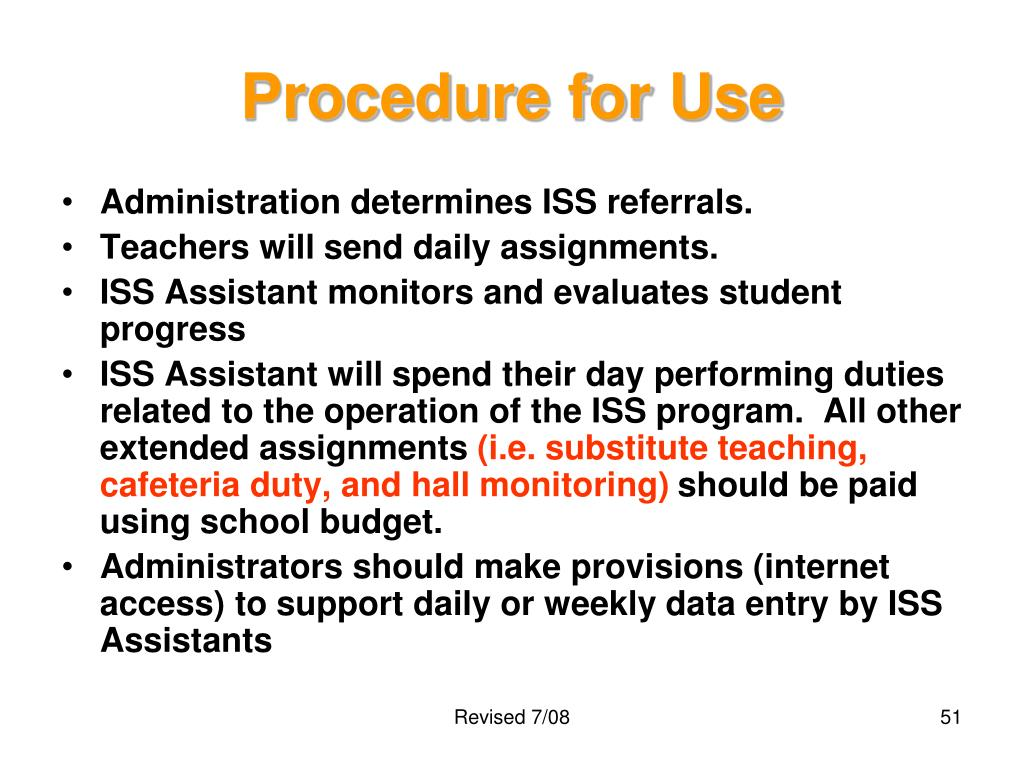Procedure for Use