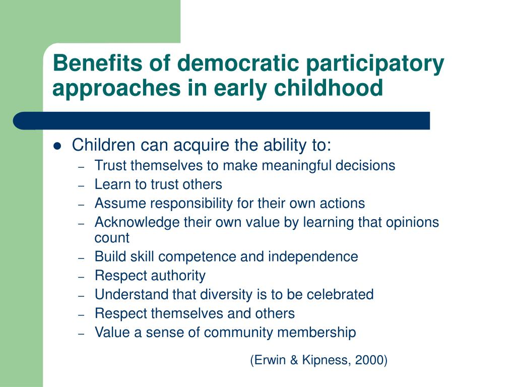 Benefits of democratic participatory approaches in early childhood