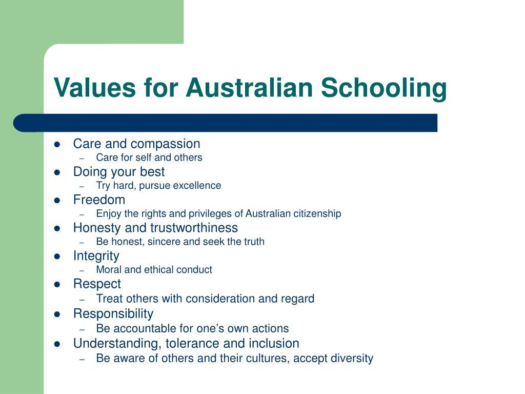 Values for Australian Schooling