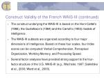 construct validity of the french wais iii continued