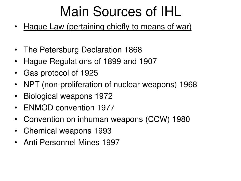 Main Sources of IHL