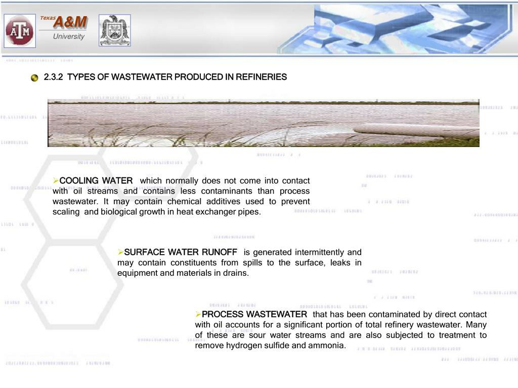2.3.2  TYPES OF WASTEWATER PRODUCED IN REFINERIES