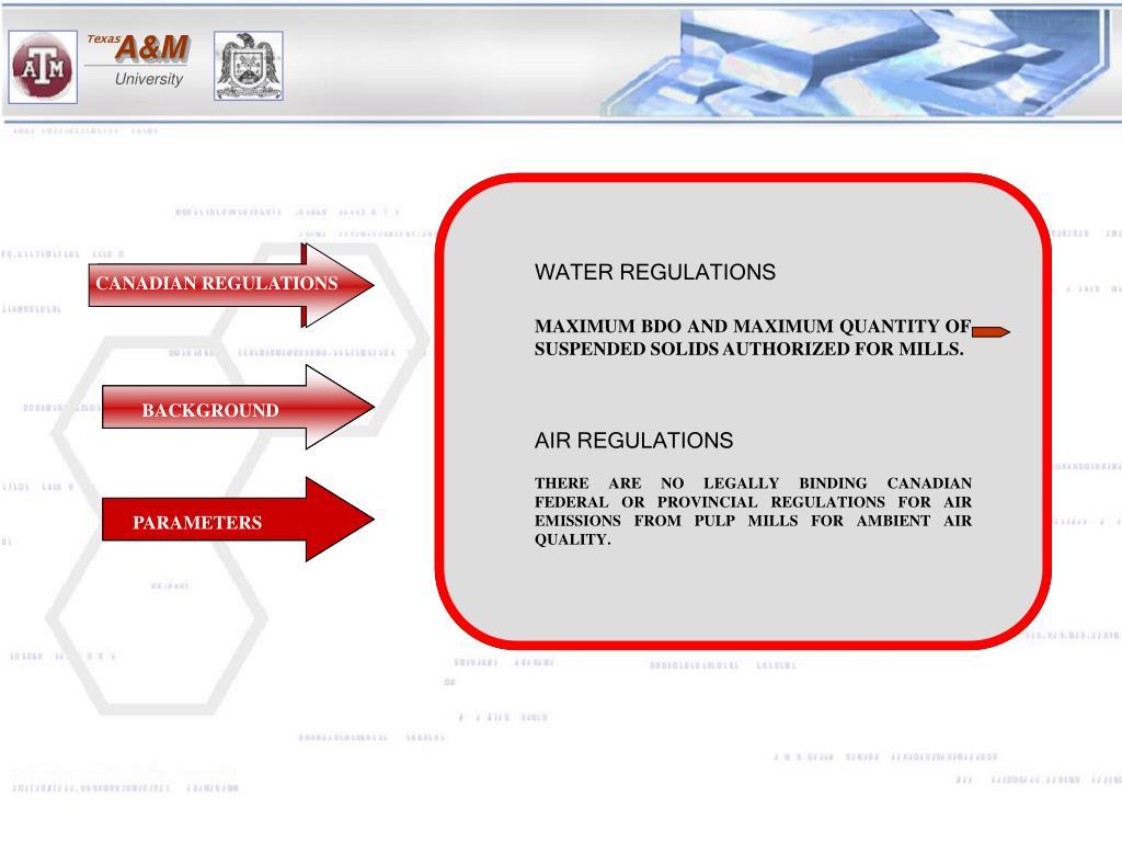 WATER REGULATIONS
