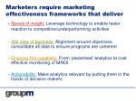 marketers require marketing effectiveness frameworks that deliver