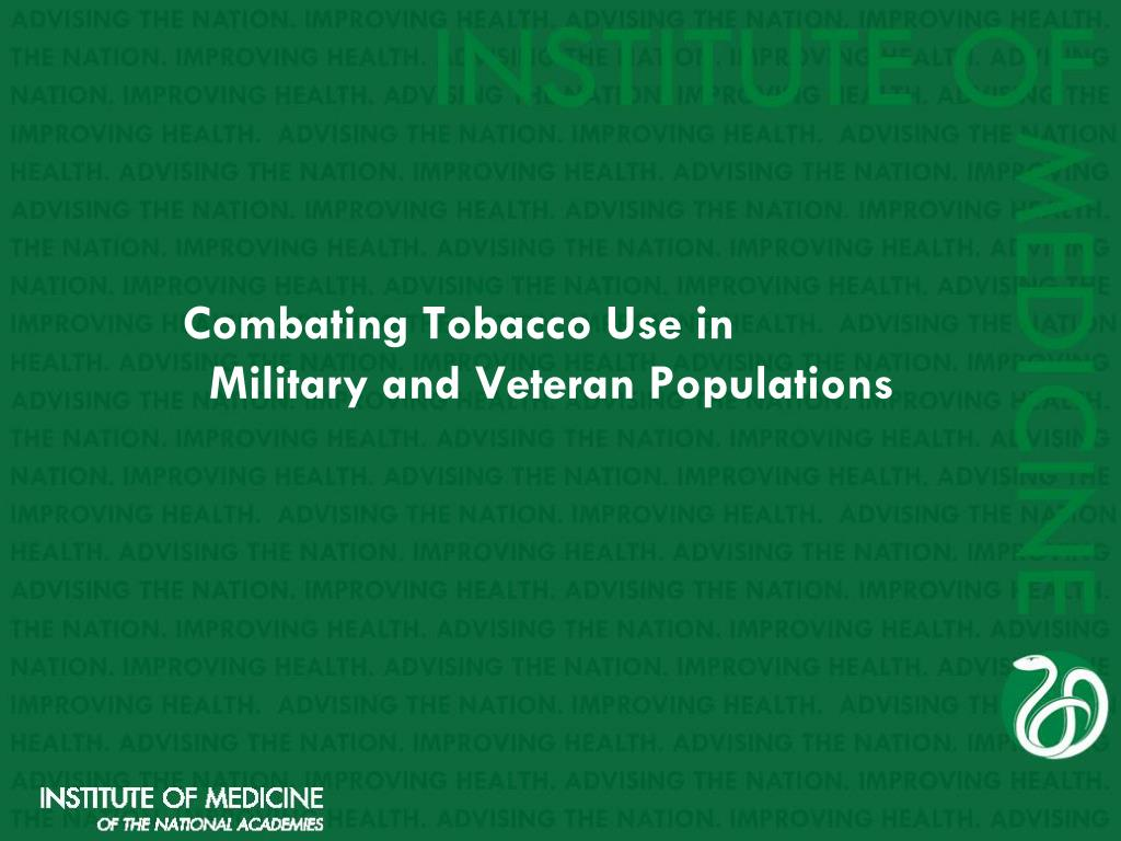 combating tobacco use in military and veteran populations l.