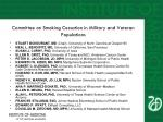 committee on smoking cessation in military and veteran populations