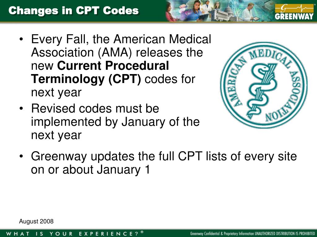 Changes in CPT Codes