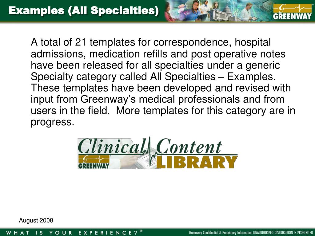 Examples (All Specialties)
