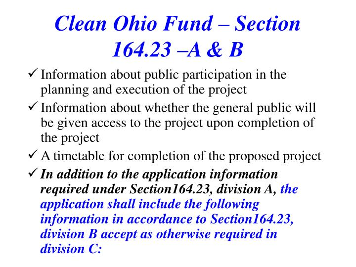 Clean Ohio Fund – Section 164.23 –A & B