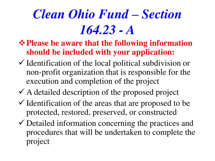 Clean Ohio Fund – Section 164.23 - A