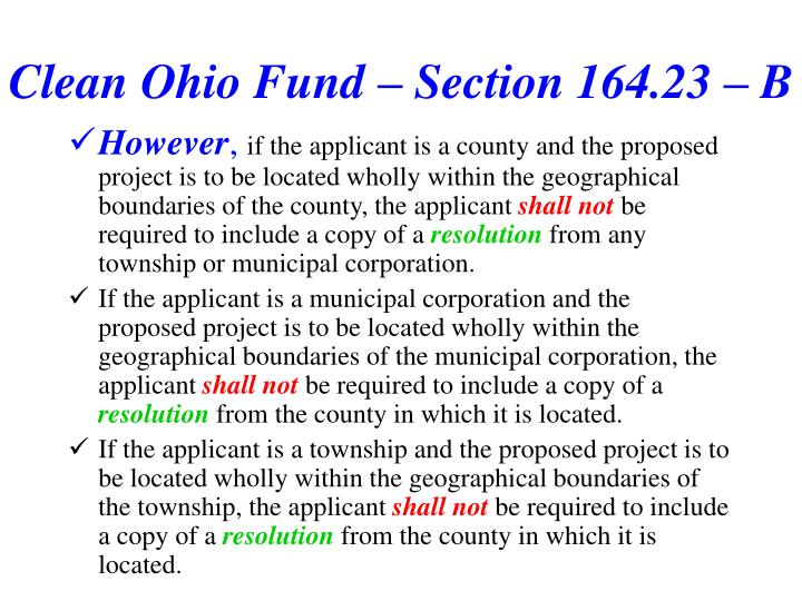 Clean Ohio Fund – Section 164.23 – B