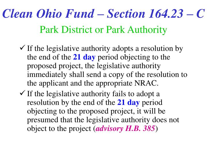 Clean Ohio Fund – Section 164.23 – C