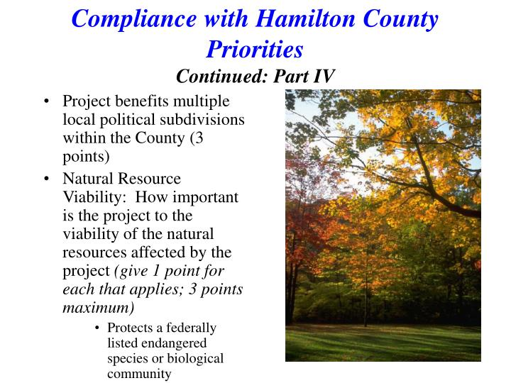 Compliance with Hamilton County Priorities
