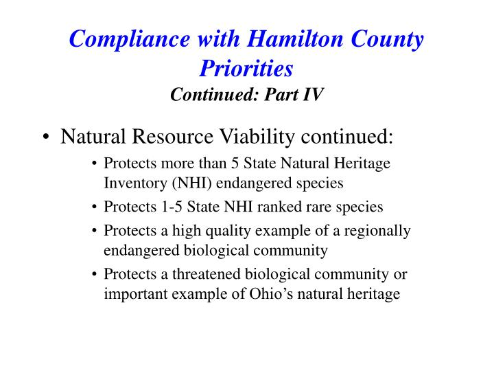 Natural Resource Viability continued: