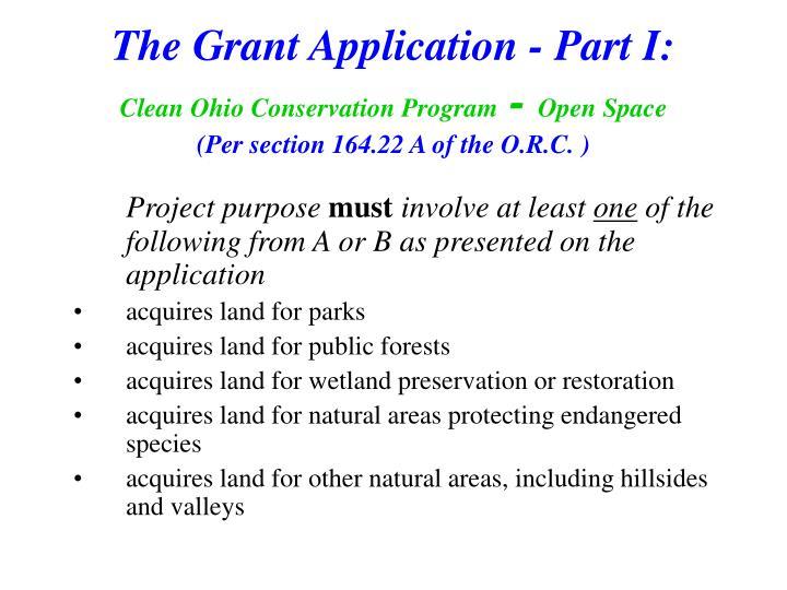 The Grant Application - Part I: