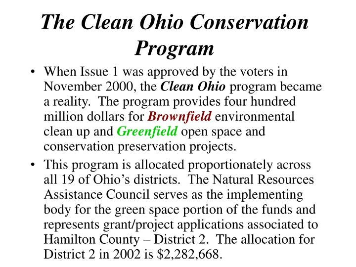 The clean ohio conservation program