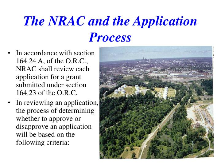 The NRAC and the Application Process