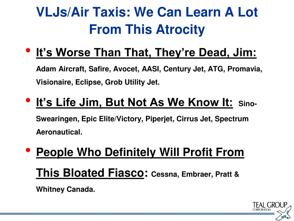 VLJs/Air Taxis: We Can Learn A Lot From This Atrocity