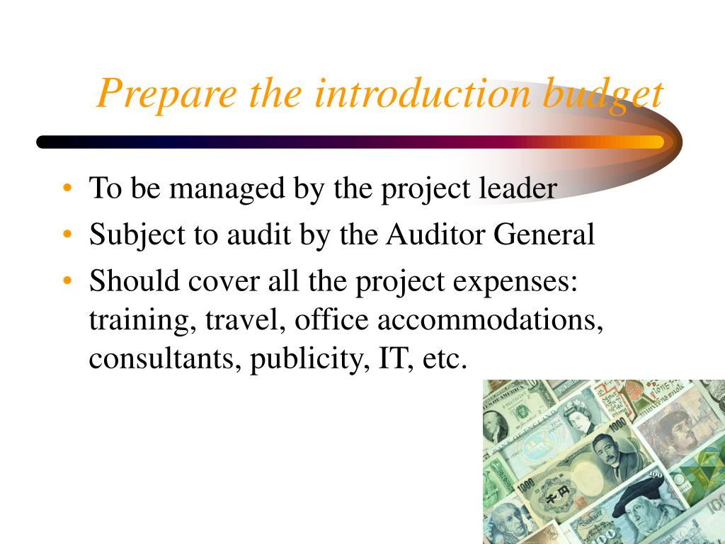 Prepare the introduction budget