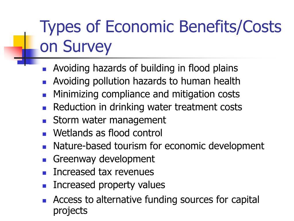 Types of Economic Benefits/Costs on Survey