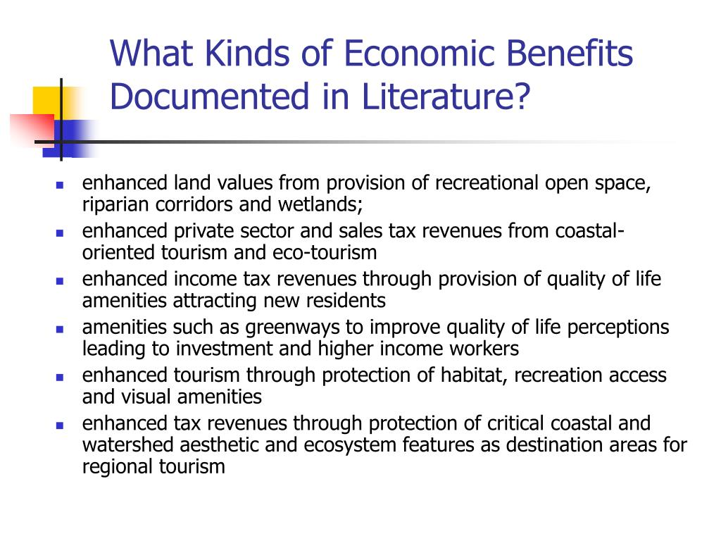 What Kinds of Economic Benefits Documented in Literature?