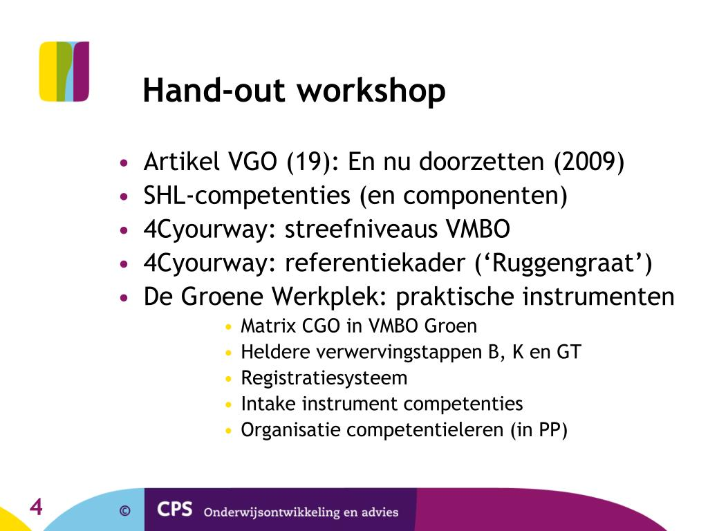 Hand-out workshop