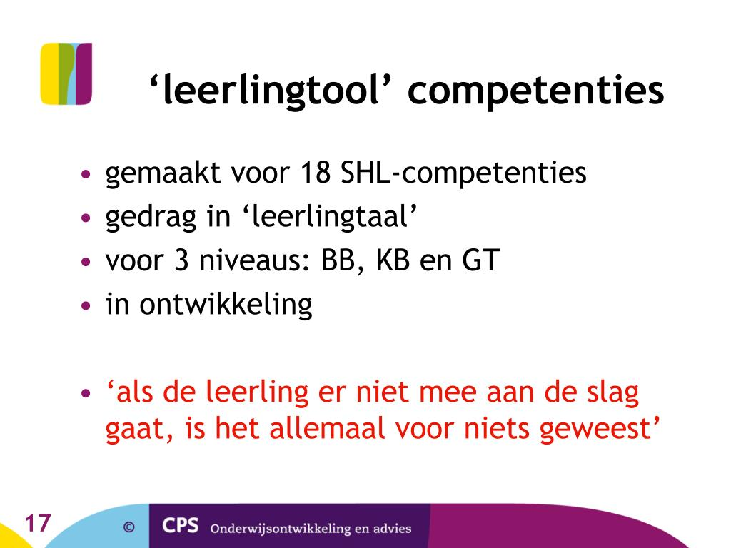 'leerlingtool' competenties