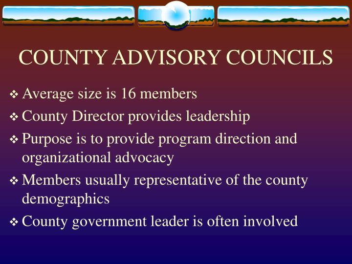 COUNTY ADVISORY COUNCILS
