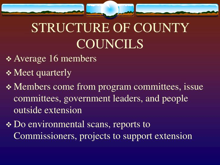 STRUCTURE OF COUNTY COUNCILS