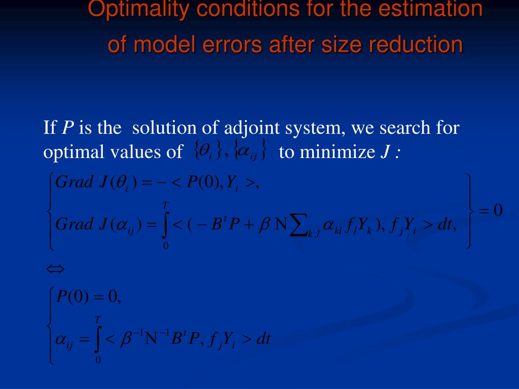 Optimality conditions for the estimation