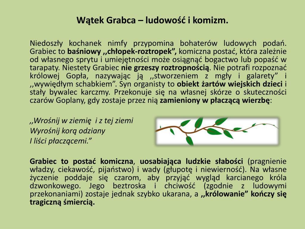 Wątek Grabca – ludowość i komizm.