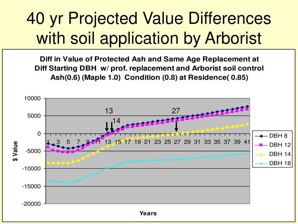 40 yr Projected Value Differences with soil application by Arborist