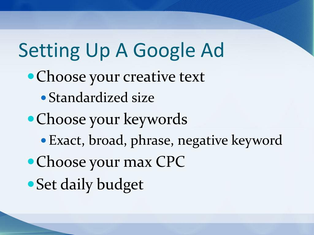 Setting Up A Google Ad