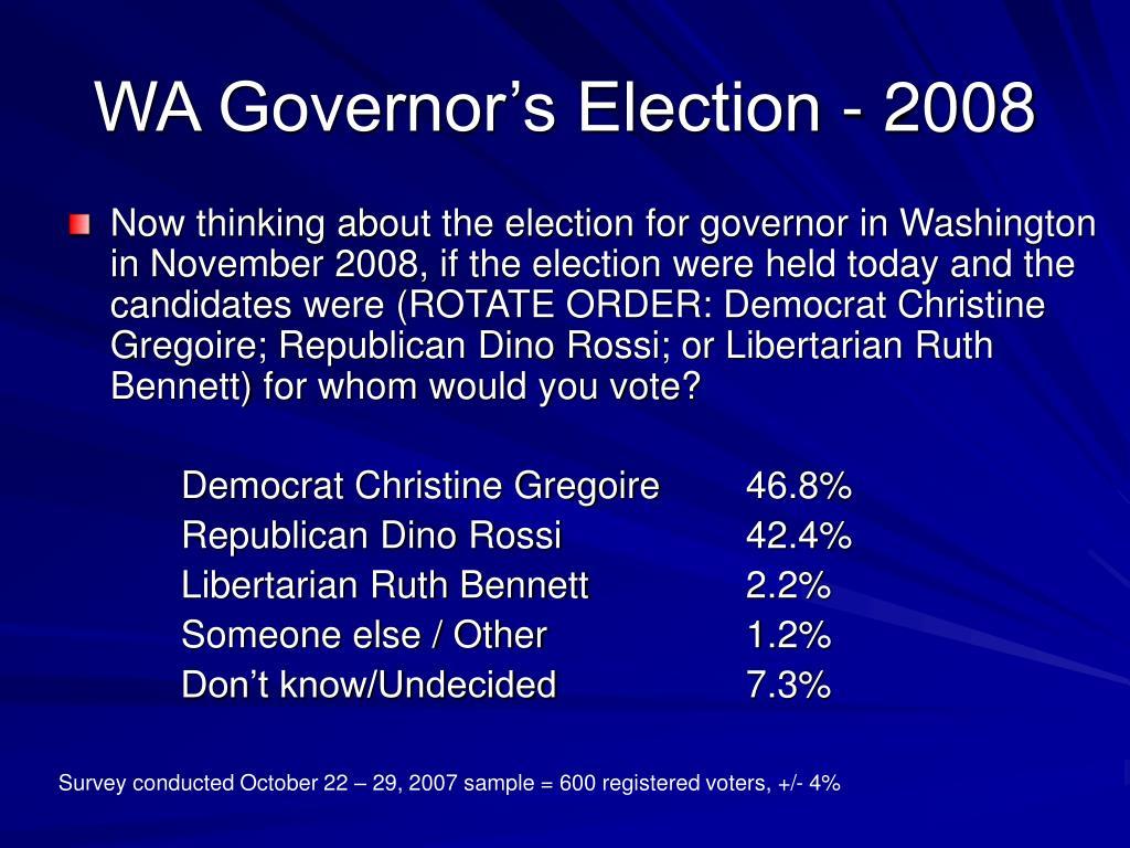 WA Governor's Election - 2008