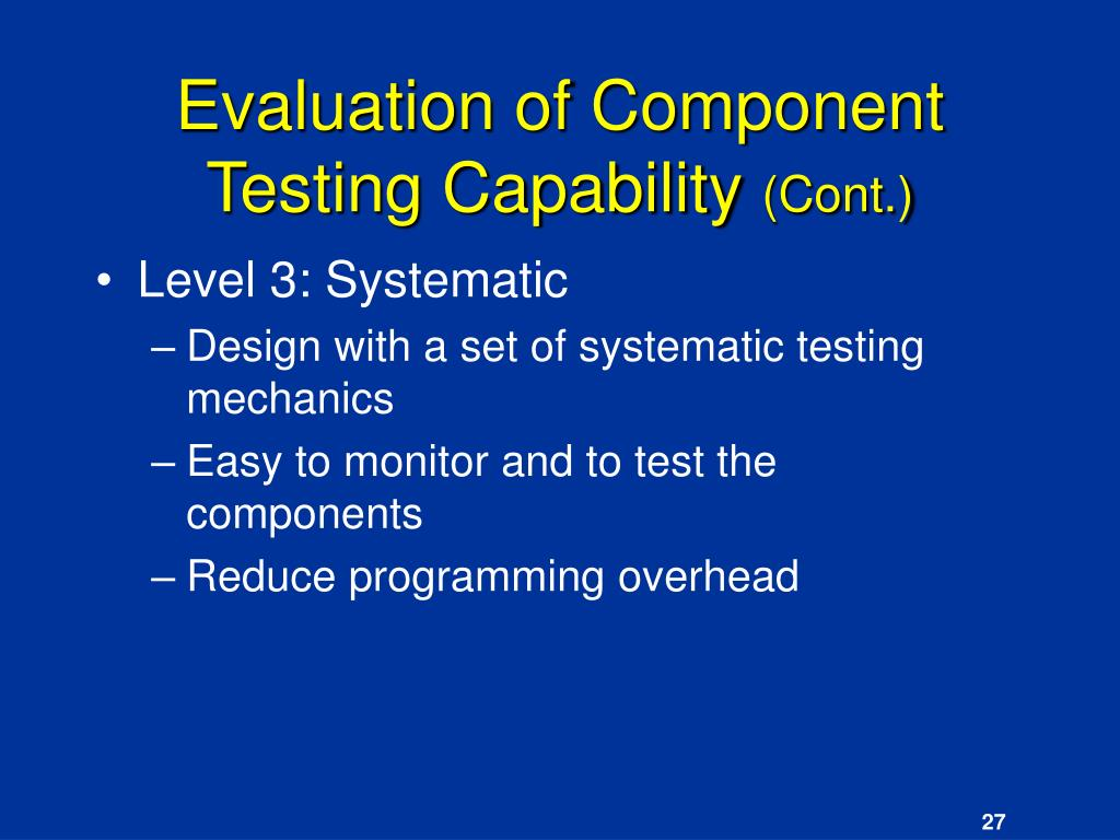 Evaluation of Component Testing Capability