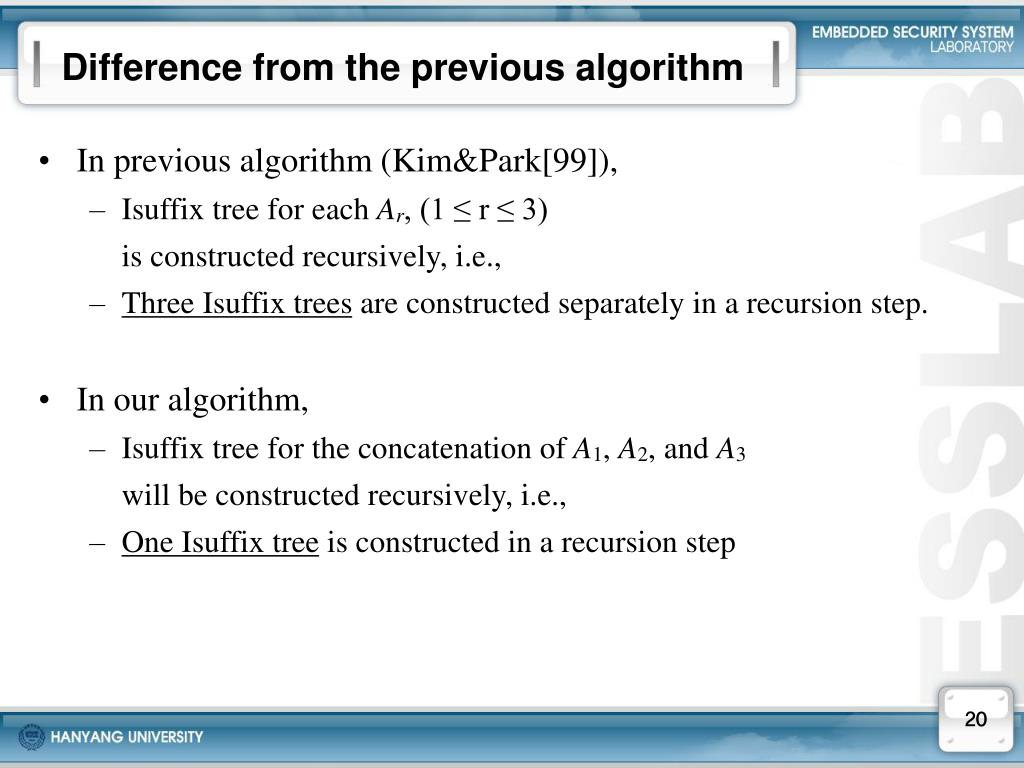 Difference from the previous algorithm