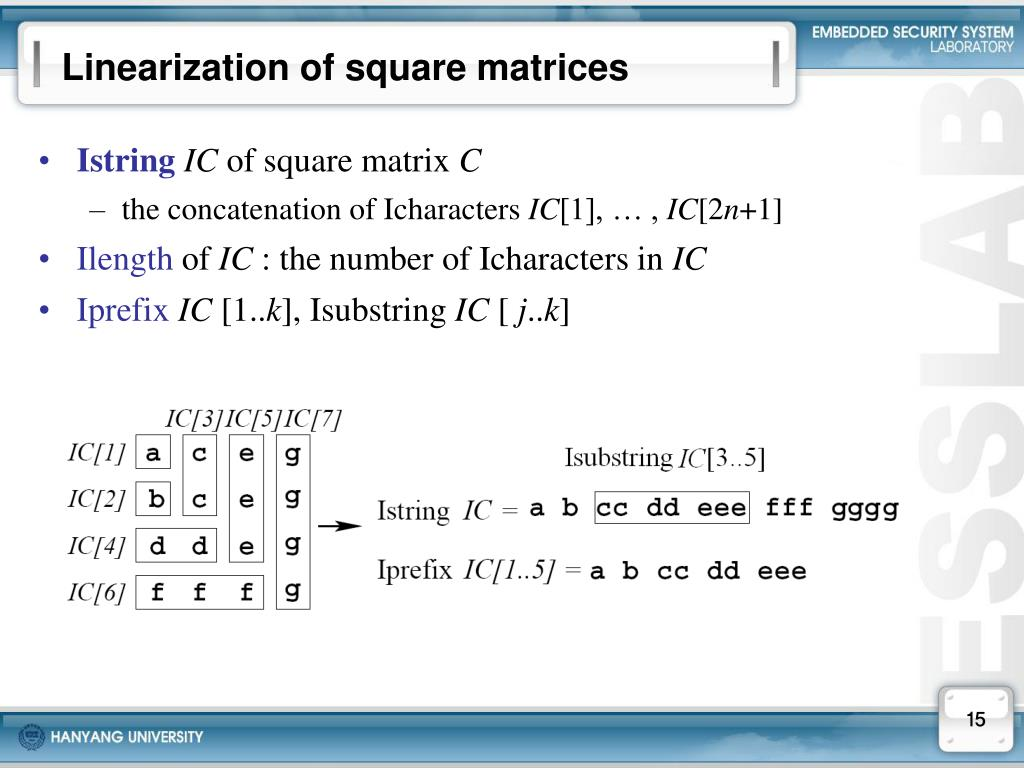 Linearization of square matrices