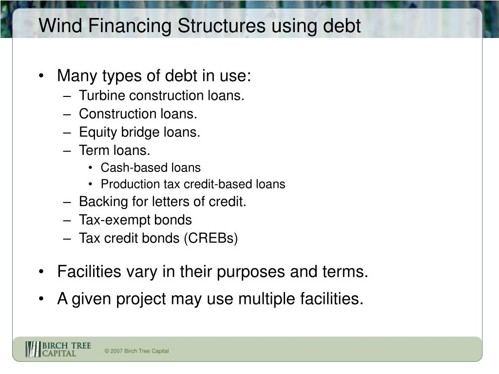 Wind Financing Structures using debt