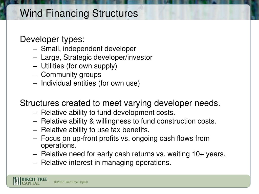 Wind Financing Structures