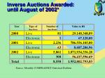 inverse auctions awarded until august of 2002