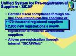 unified system for pre registration of suppliers sicaf