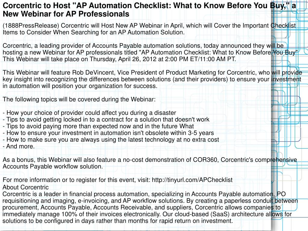 "Corcentric to Host ""AP Automation Checklist: What to Know Before You Buy,"" a New Webinar for AP Professionals"